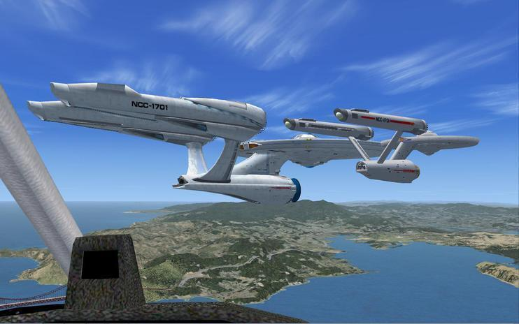 FSX FSX - 2 USS ENTERPRISES OVER GOLDEN GATE