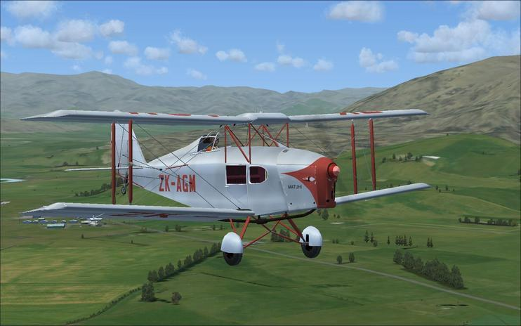 FSX DeHavilland Fox Moth ZK-AGM