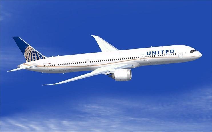FS2004 United Airlines Boeing 787-9