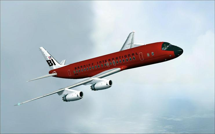 FSX Braniff International Douglas DC-8 Red Jellybean