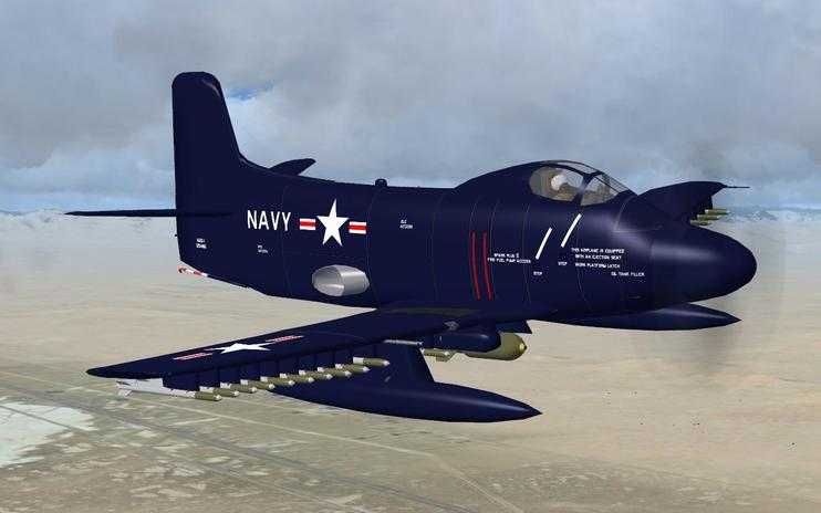 FSX Douglas A2D-1 Skyshark With Updated Panel