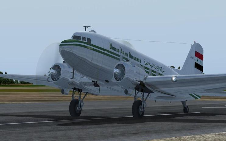 FS2004 United Arab Airlines Douglas C-47