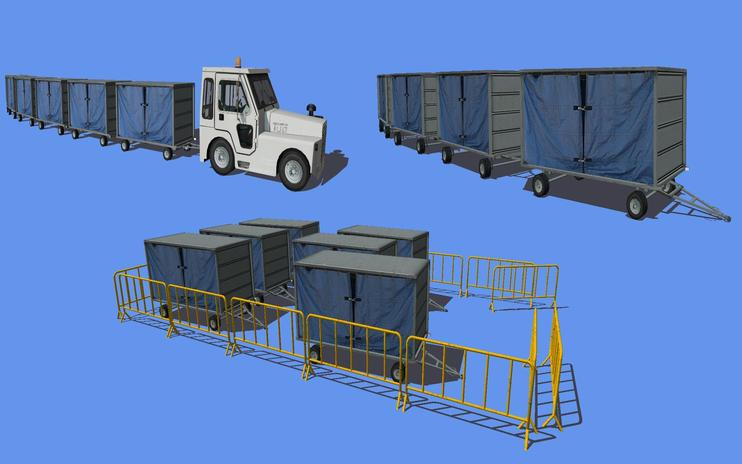 FS2004/FSX Airport Baggage Cart