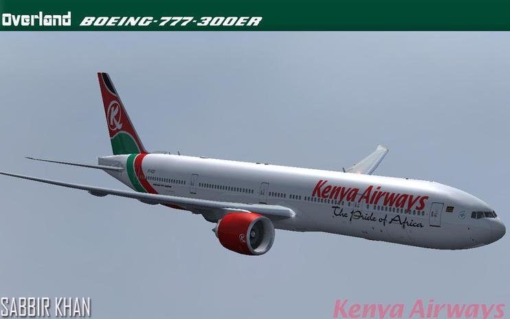 FS2004/FSX Kenya Airways Boeing 777-300ER