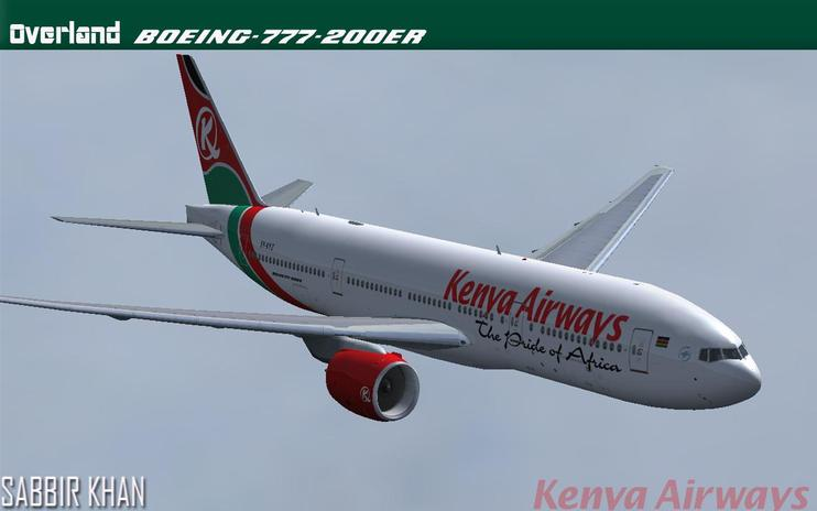 FS2004/FSX Kenya Airways Boeing 777-200ER